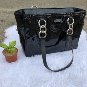 Coach black patent leather bag